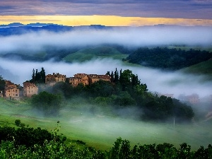 Sunrise, buildings, Italy, Fog, Tuscany