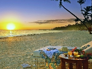 sea, breakfast, Sunrise, Beaches
