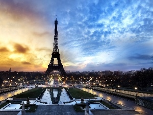 Great Sunsets, France, Eiffla Tower, Champs Elysees, Paris
