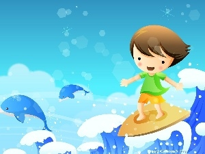 Kid, Waves, Surfing, sea