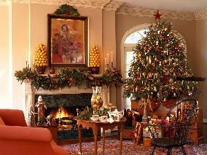 christmas tree, burner chimney, table, gifts