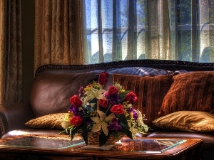 table, Window, flowers, couch, bouquet