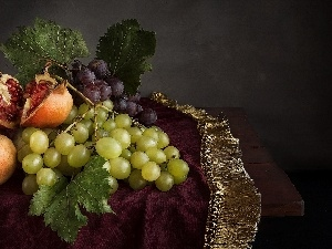 composition, Grapes, tablecloth, grenades