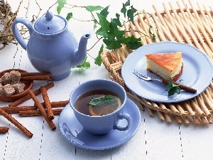 cheese cake, china, tea