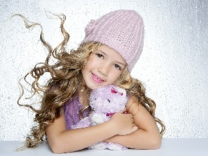 teddybear, girl, Bonnet
