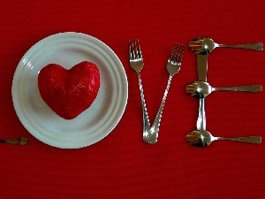 cutlery, Heart, text, plate