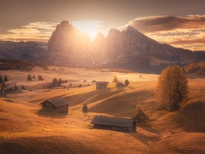 Houses, Val Gardena Valley, Dolomites, viewes, The Hills, Seiser Alm Meadow, Sassolungo Mountains, Italy, trees, Sunrise