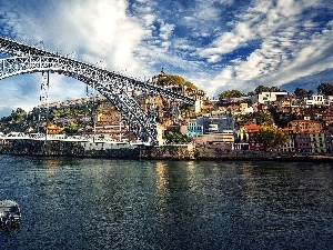 River, Portugal, Boats, Porto, Town, bridge
