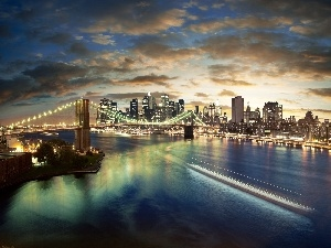 bridge, Town, New York, River