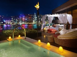 View, Pool, Town, terrace, an, bed