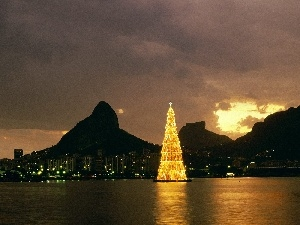 christmas tree, Gulf, Town, water