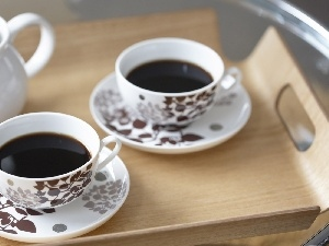 coffee, Wooden, Tray, cups