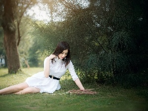 Park, White, viewes, dress, brunette, trees, grass