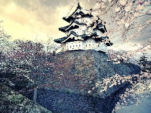 trees, viewes, house, flourishing, Japan