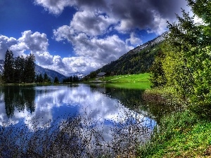 lake, clouds, trees, viewes, reflection, Mountains