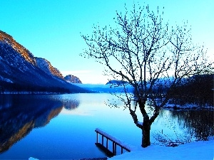 winter, lake, trees, Mountains