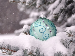 twig, snow, decoration, Christmas Tree, bauble