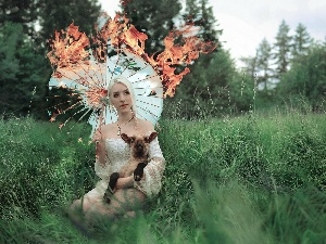 sheep, Women, Umbrella, grass, burning, Blonde