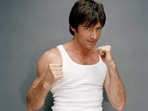 Hugh Jackman, White, under-shirt, fists