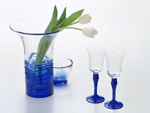 Vase, glasses, White, Tulips, Two cars