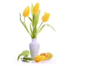 Yellow, White, vase, Tulips