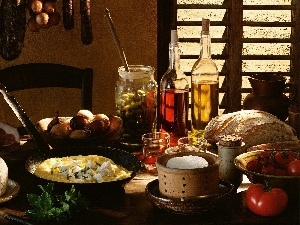 vegetables, Scrambled Eggs, oil, cooking, bread, cheese