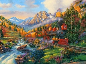 River, Mountains, view, Train