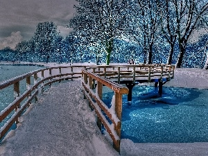 viewes, snow, bridges, trees, River