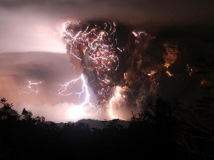 thunderbolt, dust, volcano, Cloud