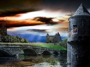 water, Castle, bridge