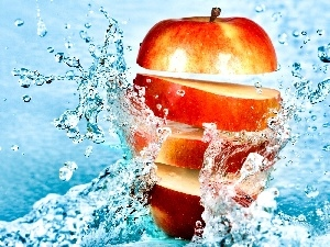 water, Apple, slices