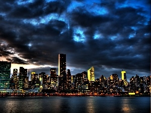 New York, Sky, water, night