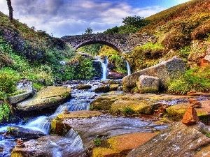 waterfall, Bush, brook, Stones, bridge