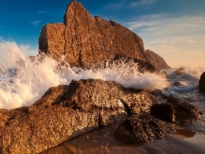 waves, rocks, spray