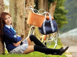 Way, smiling, viewes, Bike, trees, Japanese girl