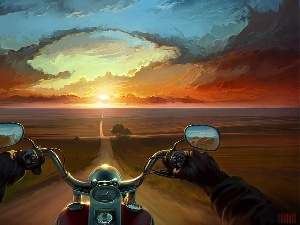 west, sun, Way, motor-bike, picture