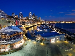 Marina, Seattle, wharf, Restaurant, Yachts, night