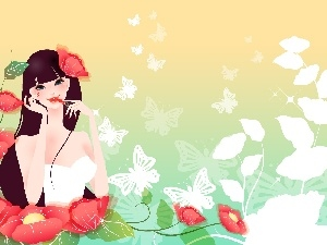 Flowers, girl, White, butterflies, lipstick, Red