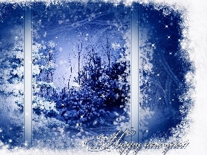 Window, winter, trees, viewes, graphics