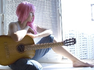 young, Guitar, Window, girl