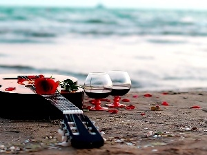 Guitar, glasses, Wine, Colourfull Flowers