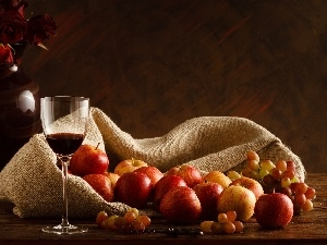 Wines, composition, Grapes, wine glass, apples