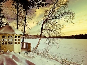 lake, arbour, winter, woods