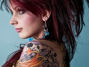 ear-ring, tattooed, Women