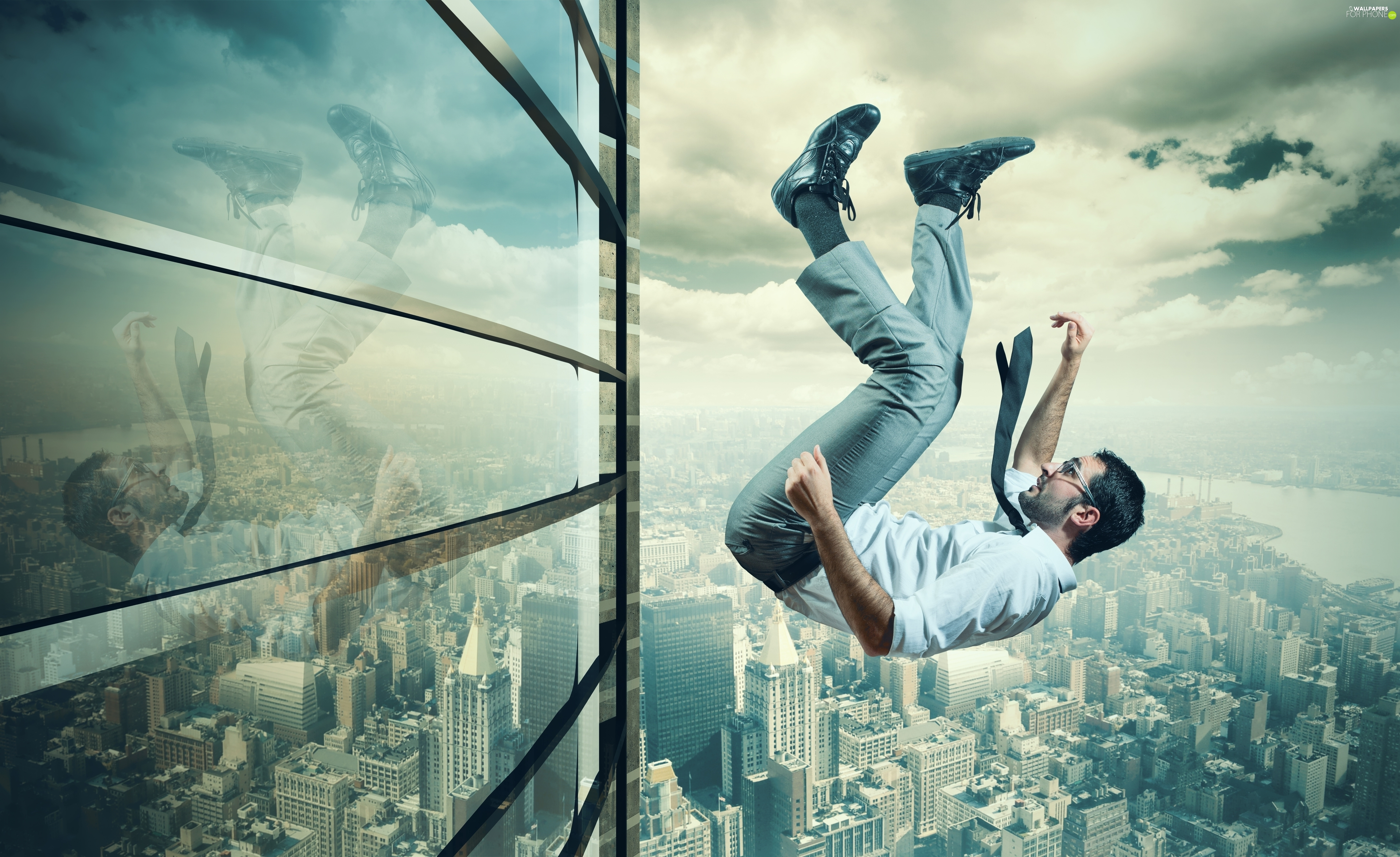 a man, high-rise, panorama, falling, graphics, fall, Town