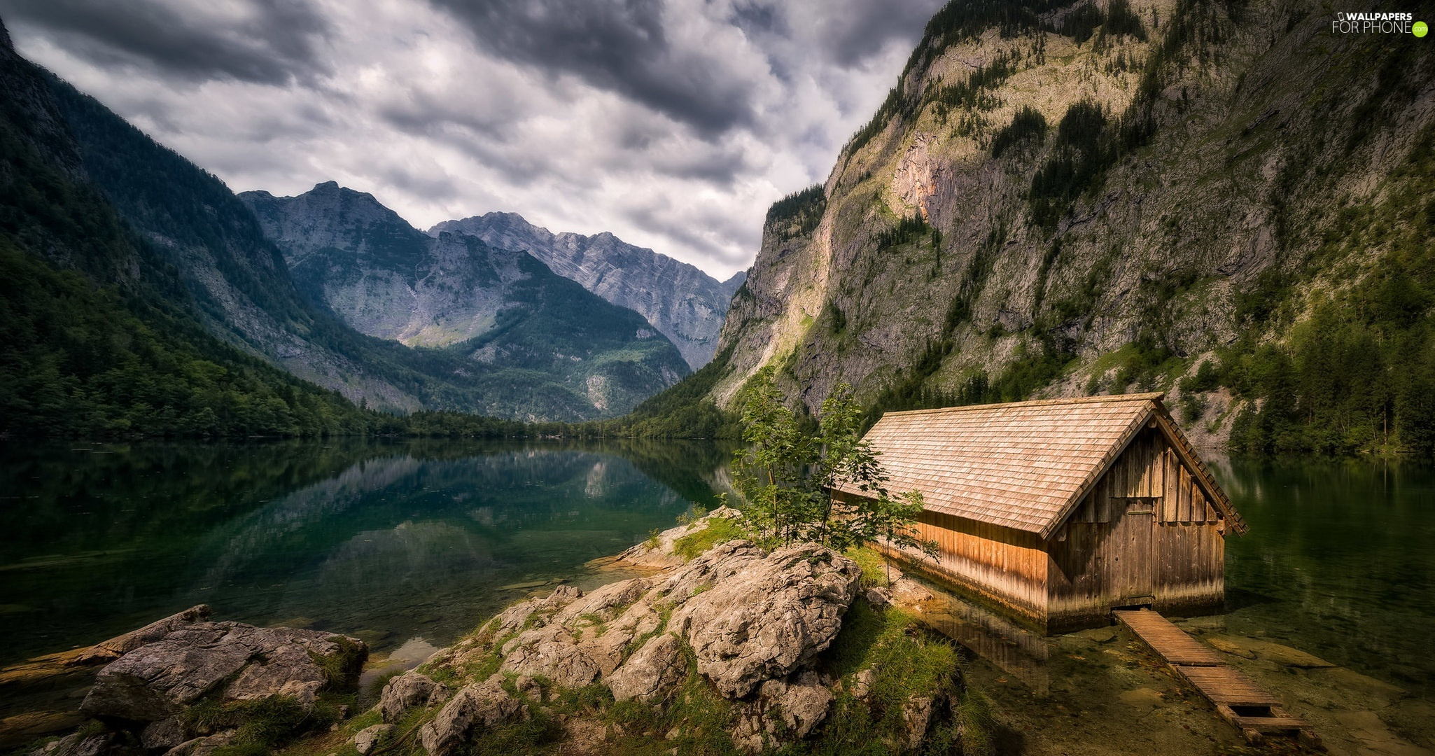 Stones, Obersee Lake, Alps Mountains, wooden, Bavaria, Germany, cote, Berchtesgaden National Park, Home
