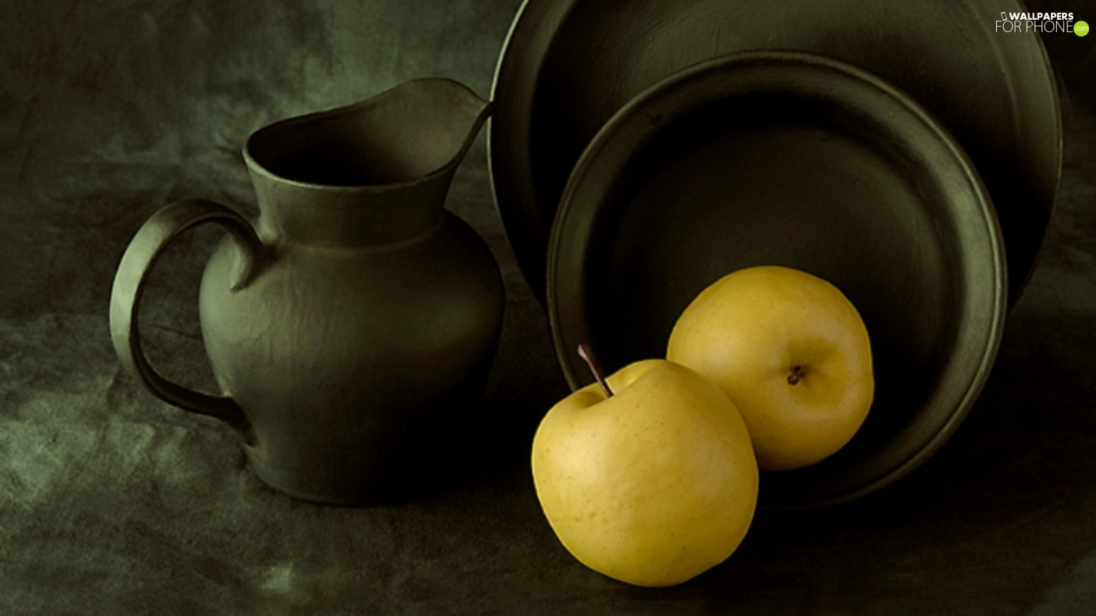 metal, Yellow, apples, dishes