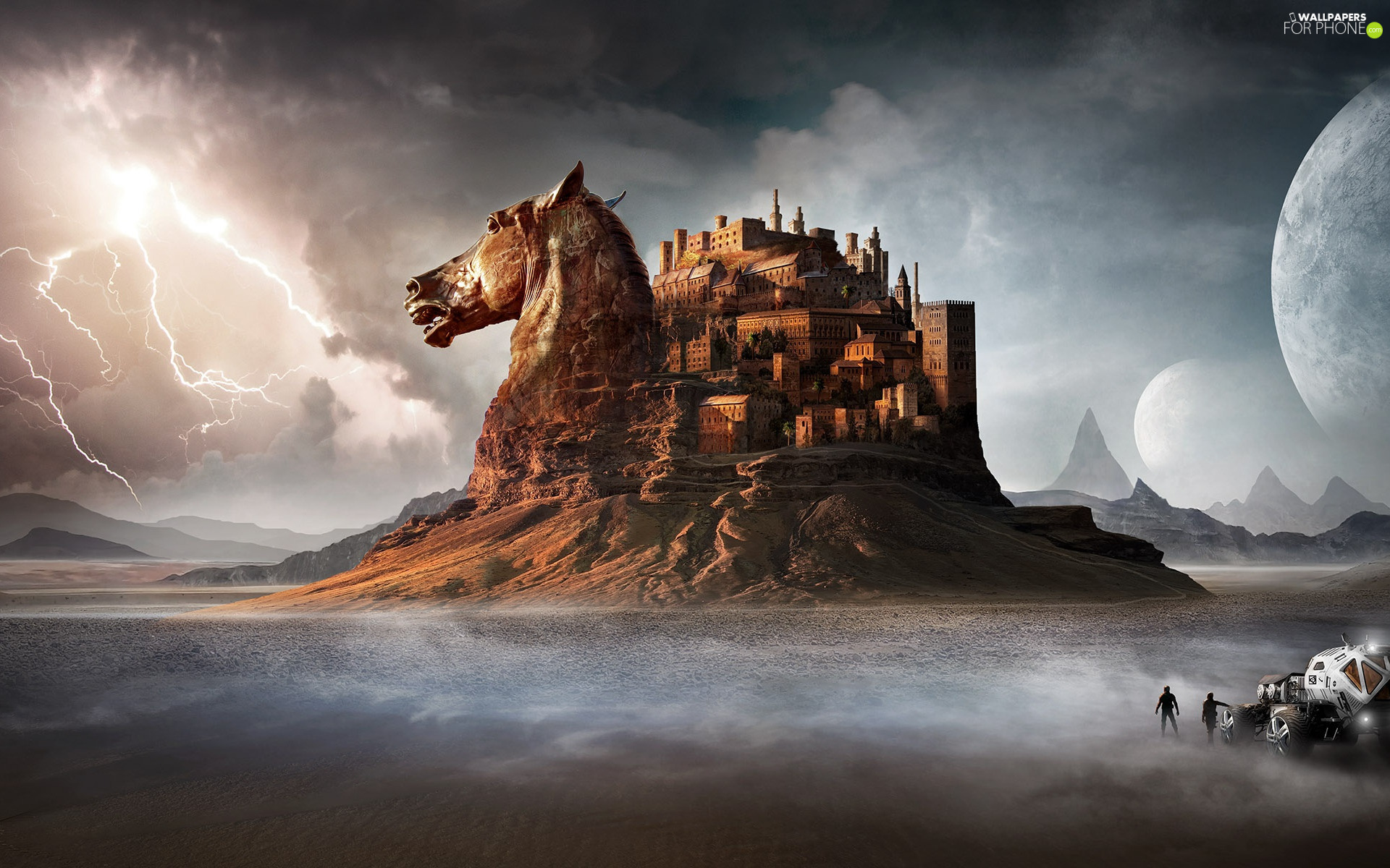Automobile, figure, Castle, clouds, Rocks, fantasy, Horse, fantasy, Lightning, Characters