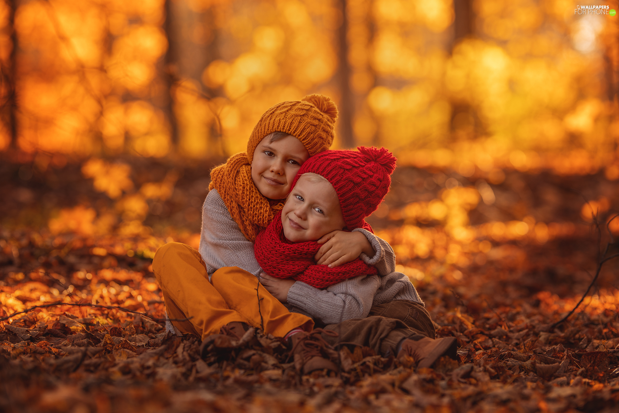 Leaf, autumn, caps, Scarves, Kids