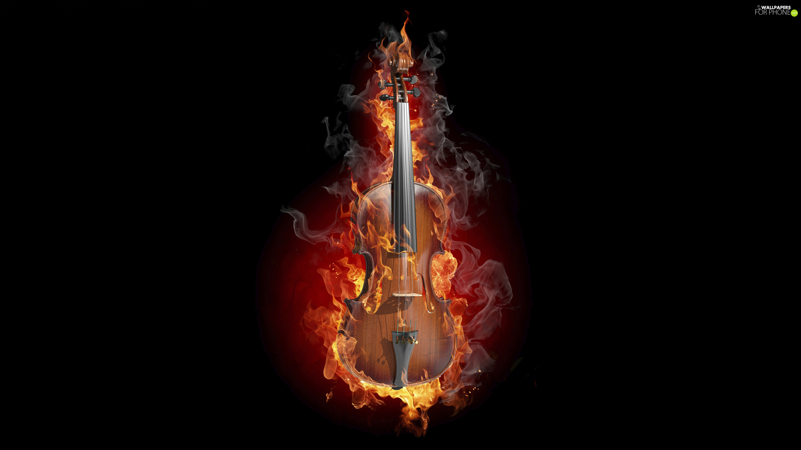 violin, Black, background, Big Fire